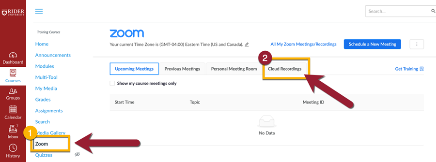 Select the Cloud Recordings tab within the Zoom LTI in your Canvas course