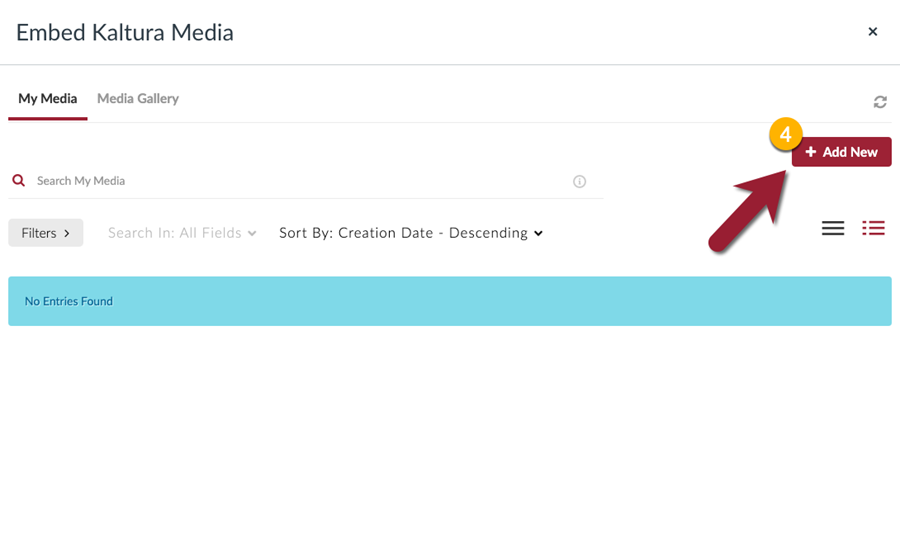 """Choose the """"Add New"""" button to upload new media to Kaltura"""