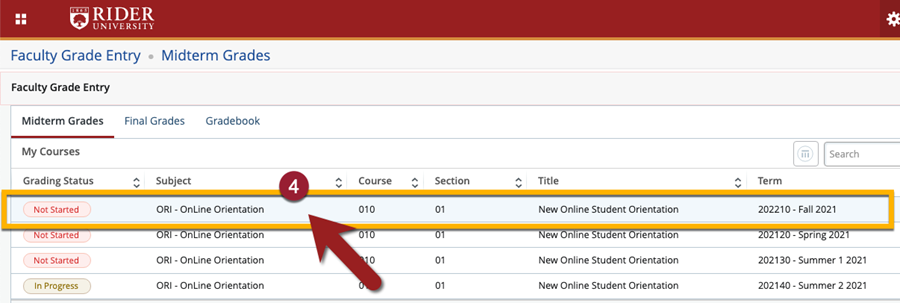 Select the row that corresponds to your course section you wish to report