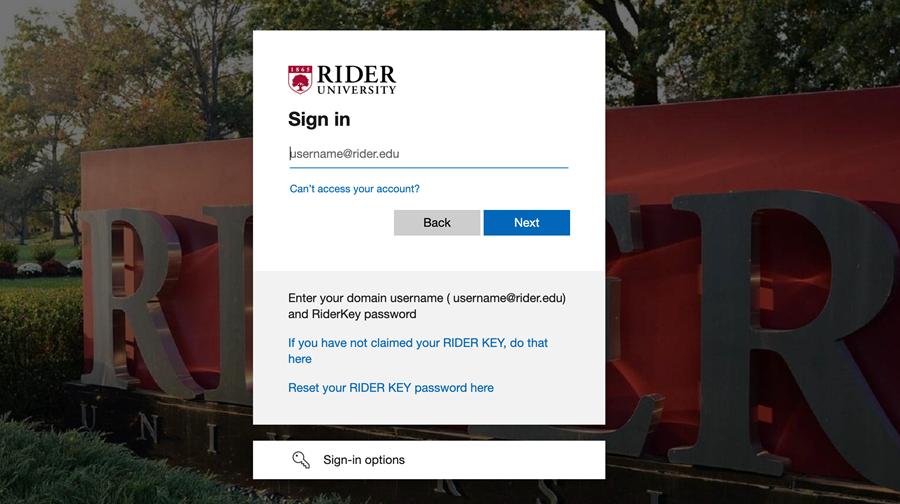 Rider Single sign-on page