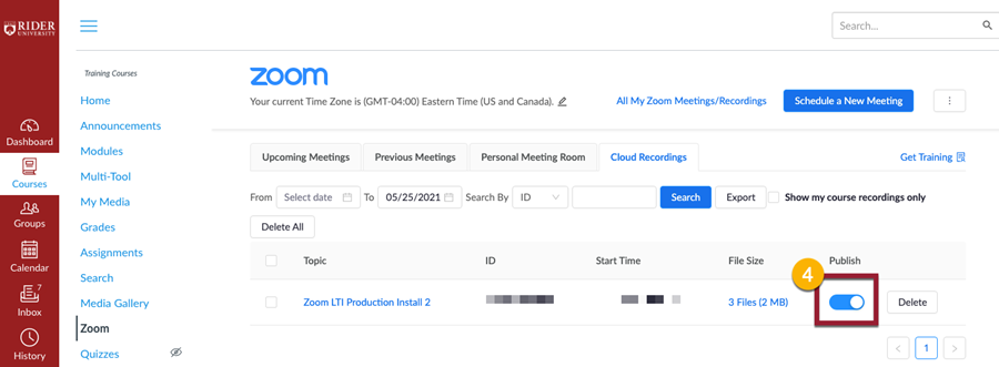 Click on the blue publish button toggle to make recording available to students